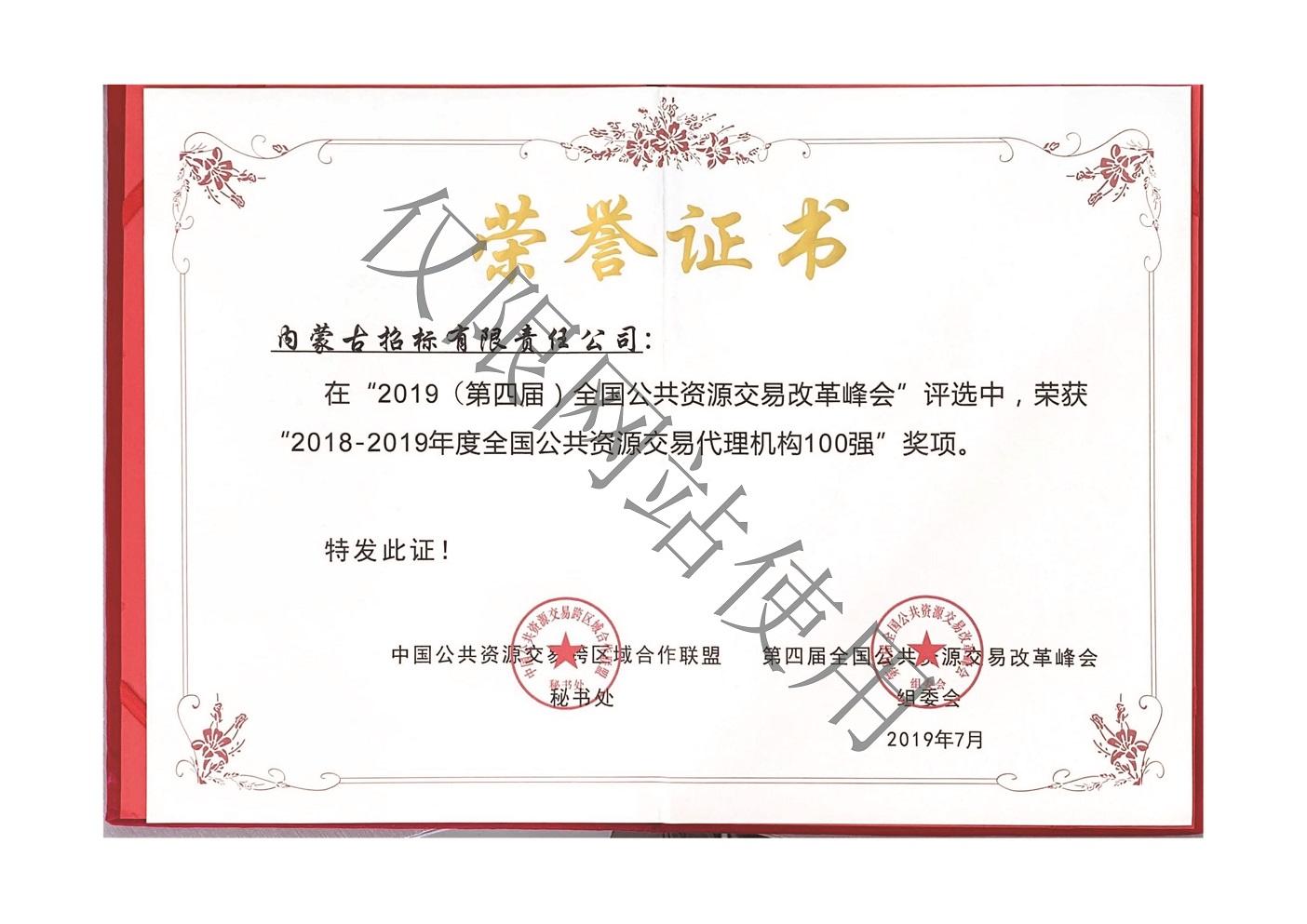2018-2019年全国公共资源交易代理机构100强副ben